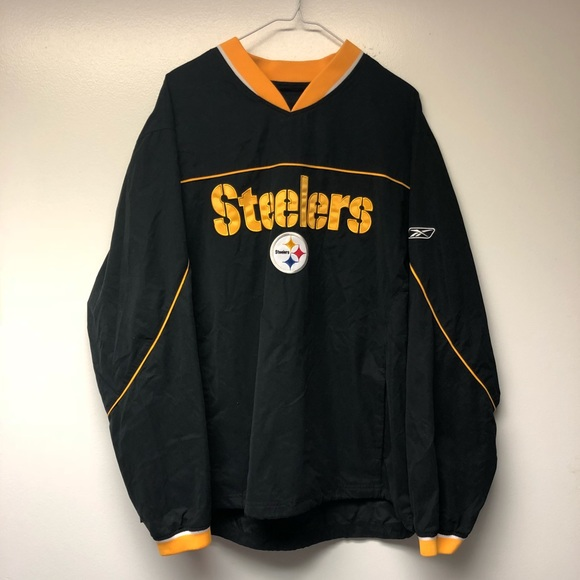 size 40 480c9 db752 Reebok Steelers Pullover Windbreaker